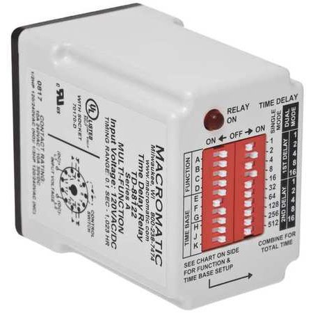 MACROMATIC TD-88162 Time Delay Relay,120VAC/DC,10A,SPDT on macromatic alternating relay, abb alternating relay, delay timer relay, macromatic phase monitor relay,