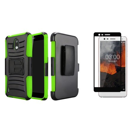 Double Layer Glass (Bemz Rugged Series Bundle Compatible with Nokia 3.1 A, Nokia 3.1 C with Full Body Coverage Double Layer Armor Case (Black), Tempered Glass Screen Protector and Atom Cloth)