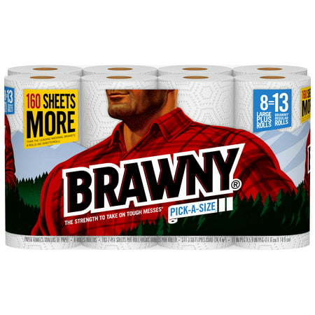 Brawny Paper Towels, 8 Large Plus Rolls, Pick-A-Size