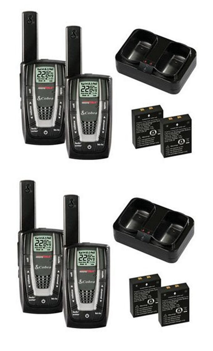 New! 2 PAIR COBRA CXR725 27 Mile 22 Channel FRS GMRS Walkie Talkie 2-Way Radios by Cobra