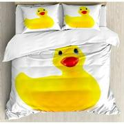 Ambesonne Rubber Duck Squeak Toy Fun Bubble Bath Animal Kids Room Print Duvet Cover Set
