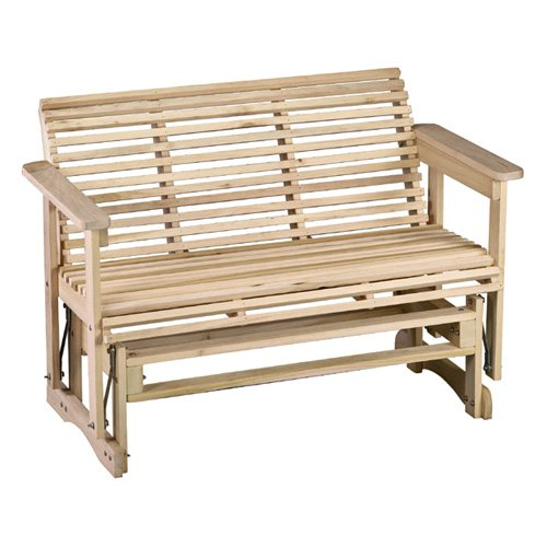 Beecham Swing Co. Roll Bottom 4 ft. Straight Back Wood Outdoor Glider Bench