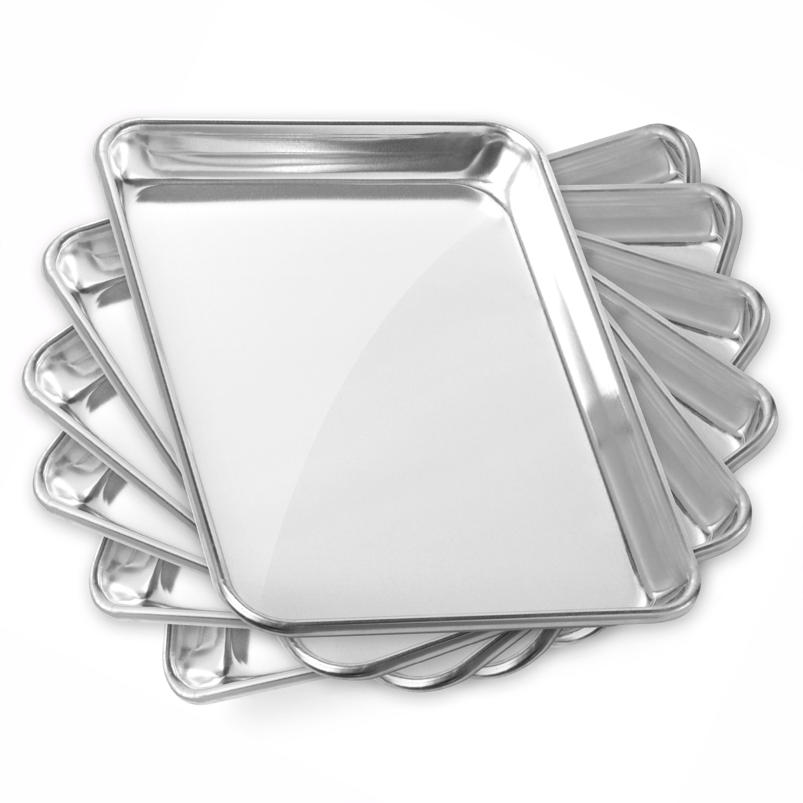 Gridmann Commercial Grade Aluminium Cookie Sheet Baking Tray  - Asssorted Sizes - 6 Pans