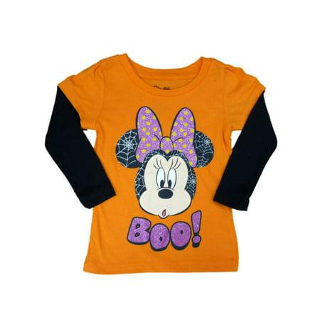d452f28e Disney - Disney Infant Girls Orange Minnie Mouse Boo Halloween Shirt Long  Sleeved T-Shirt - Walmart.com