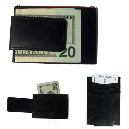 Black Matte Money Clip (Mens Deluxe Black Leather Magnetic Money Clip Wallet Credit Card Slim ID)