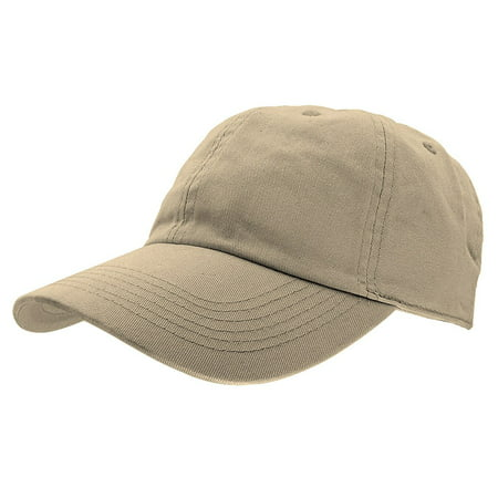 Falari Baseball Cap Hat 100% Cotton Adjustable Size - Khaki Structured Flex Hat