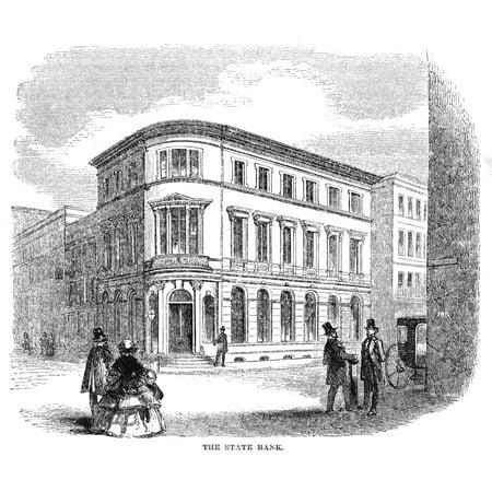 Charleston Bank 1857 Nthe State Bank At Charleston South Carolina Wood Engraving 1857 Rolled Canvas Art     18 X 24