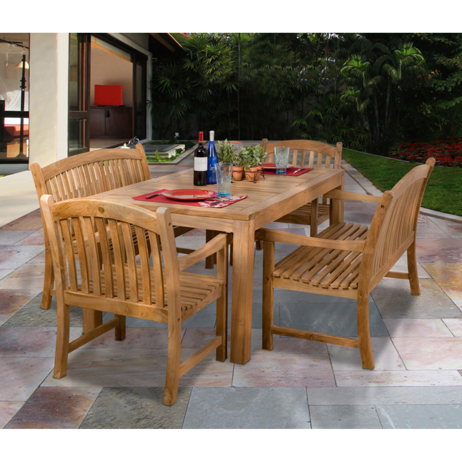 Amazonia Geneve Teak Chair and Bench Dining Set - Seats 6