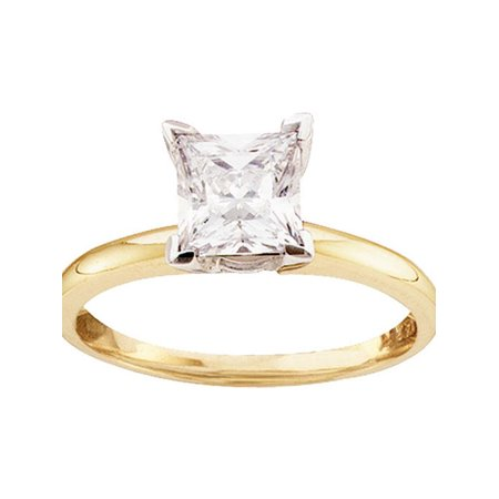 14kt Yellow Gold Womens Princess Diamond Solitaire Bridal Wedding Engagement Ring 7/8 Cttw - image 1 of 1