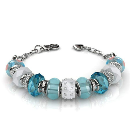 Aurora 18k White Gold Beaded Bracelet w/Swarovski Crystals, Beautiful Bangle Charm Bracelet, Sparkle Silver Beads Charm Bracelet for Women, Friendship Bracelets - MSRP $148 (Blue) Bangle White Gold Designer Bracelets