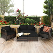 Patiojoy Outdoor Wicker Coversation Set with Removable Cushions Gray, 5 Piece
