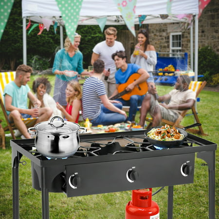 Portable Propane 225,000-BTU 3 Burner Gas Cooker Outdoor Camp Stove BBQ - image 4 of 10