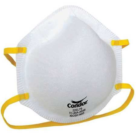 CONDOR Disposable Respirator,N95,Universal,PK20 22EL79