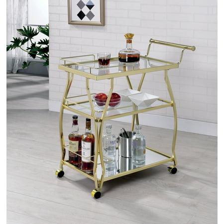 Furniture of America Alyssa Champagne Contemporary Glass Shelf Serving (American Champagne)