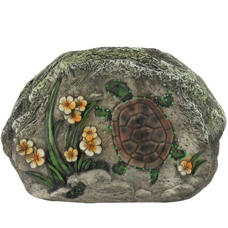 """7"""" LED Lighted Solar Powered Turtle and Flowers Outdoor Garden Stone - image 1 of 1"""