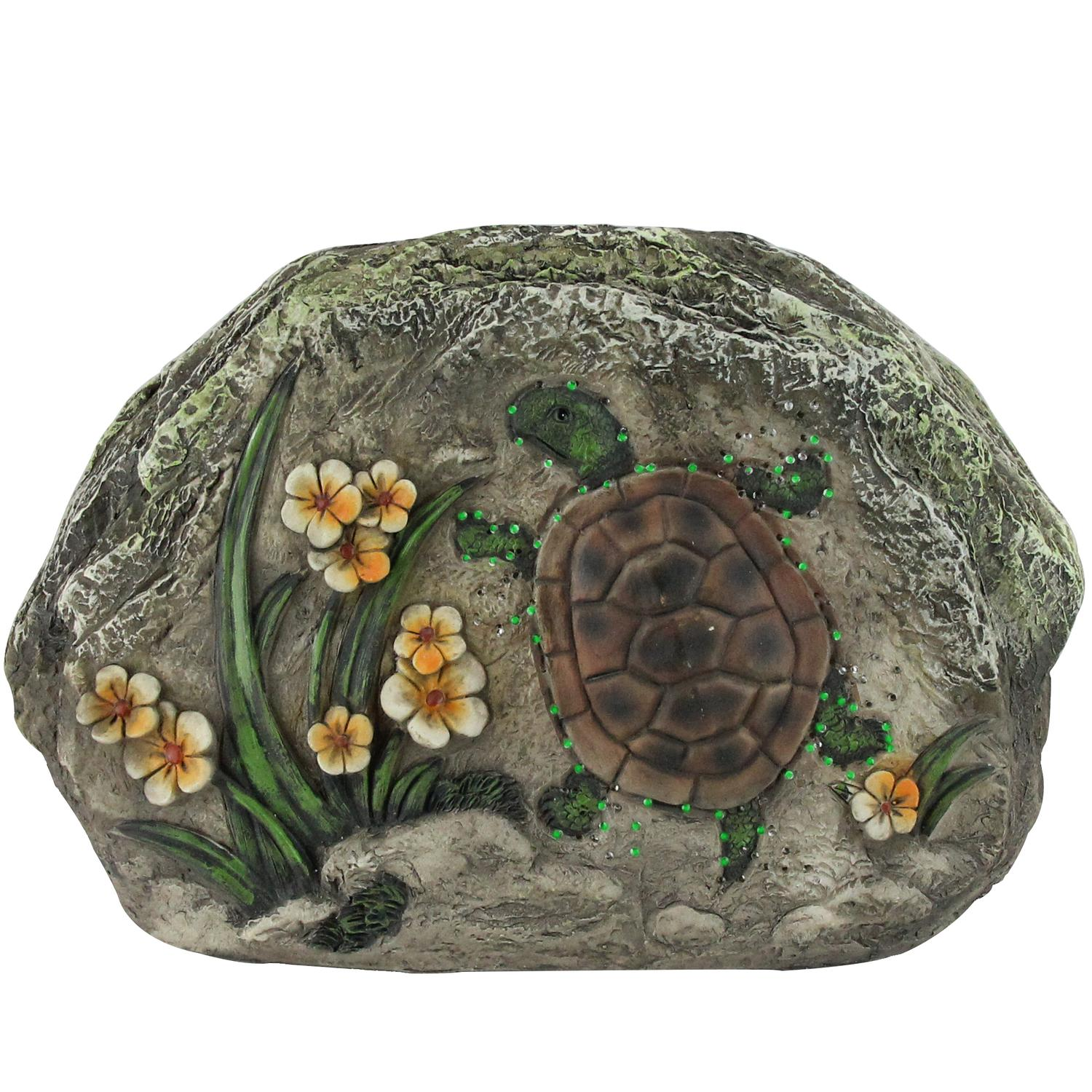 "7"" LED Lighted Solar Powered Turtle and Flowers Outdoor Garden Stone"