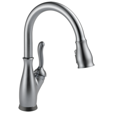 Delta Leland Single Handle Pull-Down Kitchen Faucet in Arctic Stainless 9178T-AR-DST
