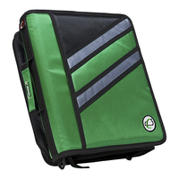 Case-It Z-Design Zippered Binder with Tab File, D-Ring, 1-1/2 Inches, Green