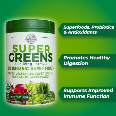 Country Farms super greens powder, 10.6 oz, 20 servings