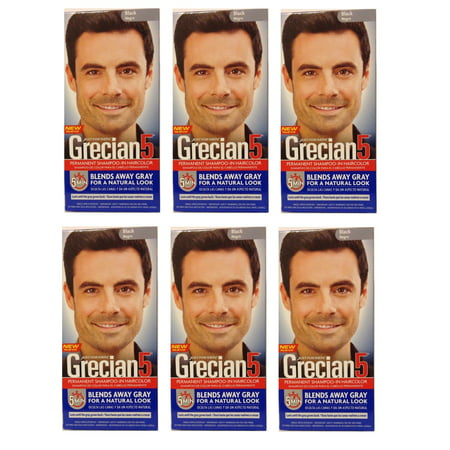 Just For Men Grecian 5 Permanent Shampooing-In Couleur de cheveux, noir (pack de 6)