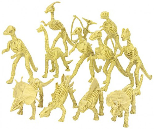 Assorted Dinosaur Fossil Skeleton Toys 6-7 Inch Figures -12 Piece- For Kids, Boys, Girls, Pretend, Play Time,... by Kayco USA