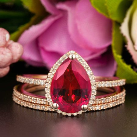 Star Ruby Wedding Set (Beautiful 2 Carat Pear Cut Real Ruby and Diamond Wedding Trio Ring Set with Engagement Ring and 2 Wedding Bands in 18k Gold Over Sterling Silver)