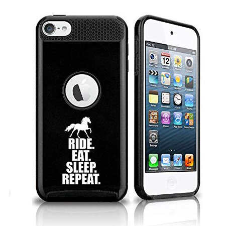 Shockproof Impact Hard Soft Case Cover for Apple (iPod Touch 5th / 6th) Horse Ride Eat Sleep Repeat (Black) Eat Sleep Ride Horse