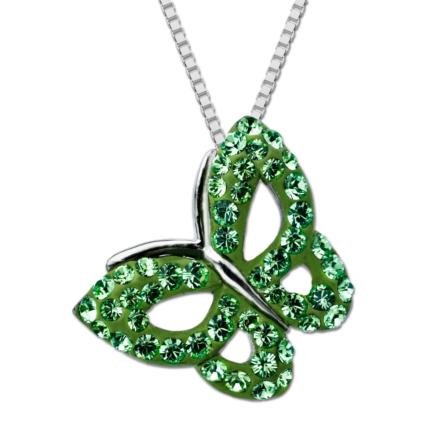 Luminesse Sterling Silver Butterfly Pendant with Green Swarovski Elements