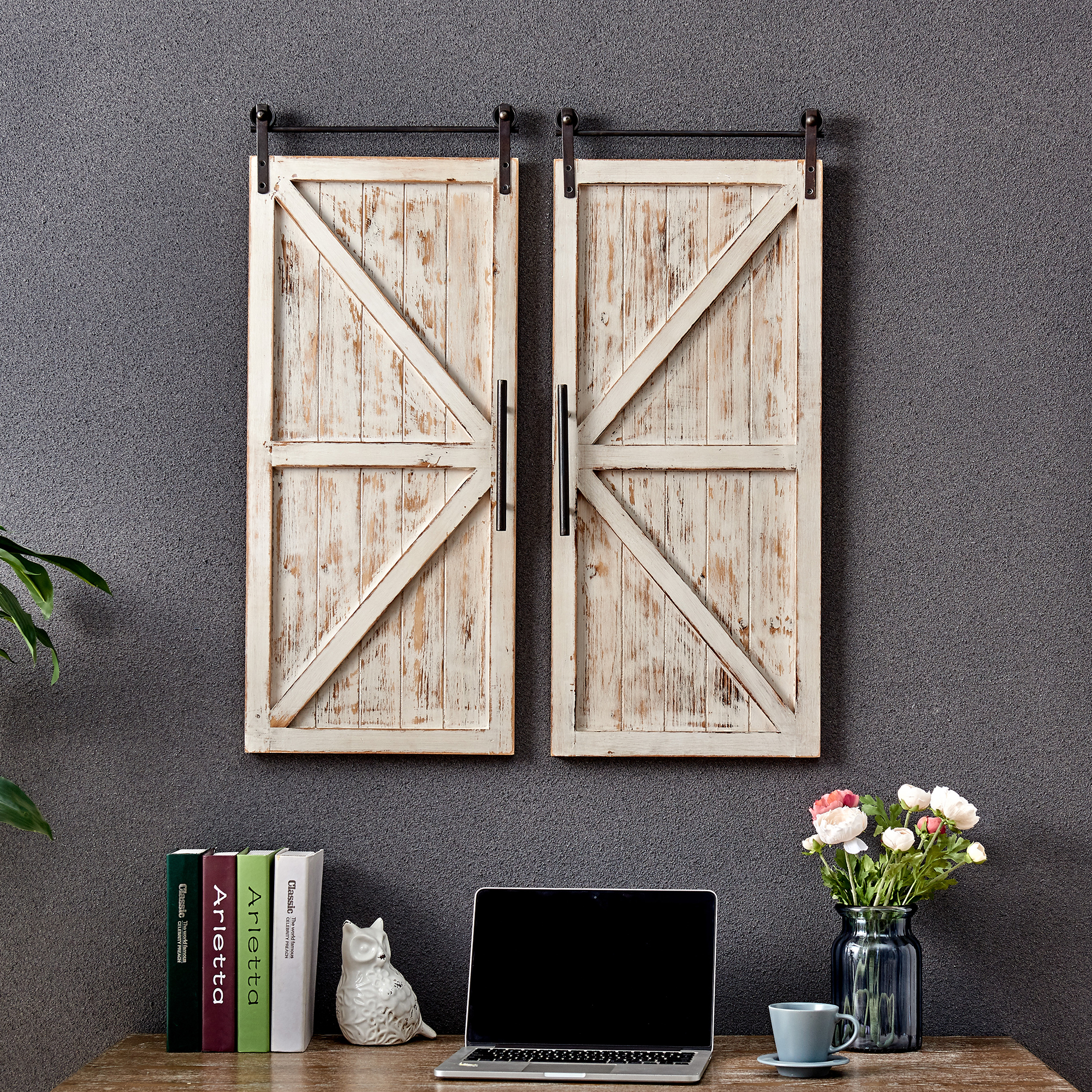 Firstime Co Carriage Farmhouse Barn Door Wall Plaque Set American Crafted Aged White 14 X 2 34 In 70034 Walmart Com
