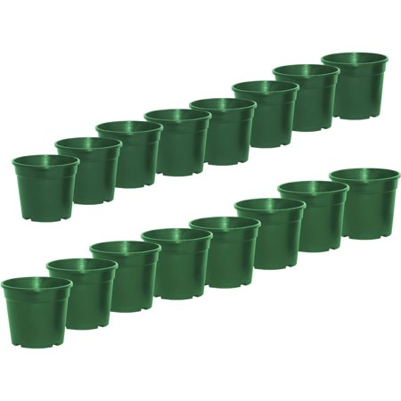ALEKO 100PP130GR Round Green Thermoformed Nursery Plastic Garden Seedlings Pots for Plants and Flowers, Lot of 100