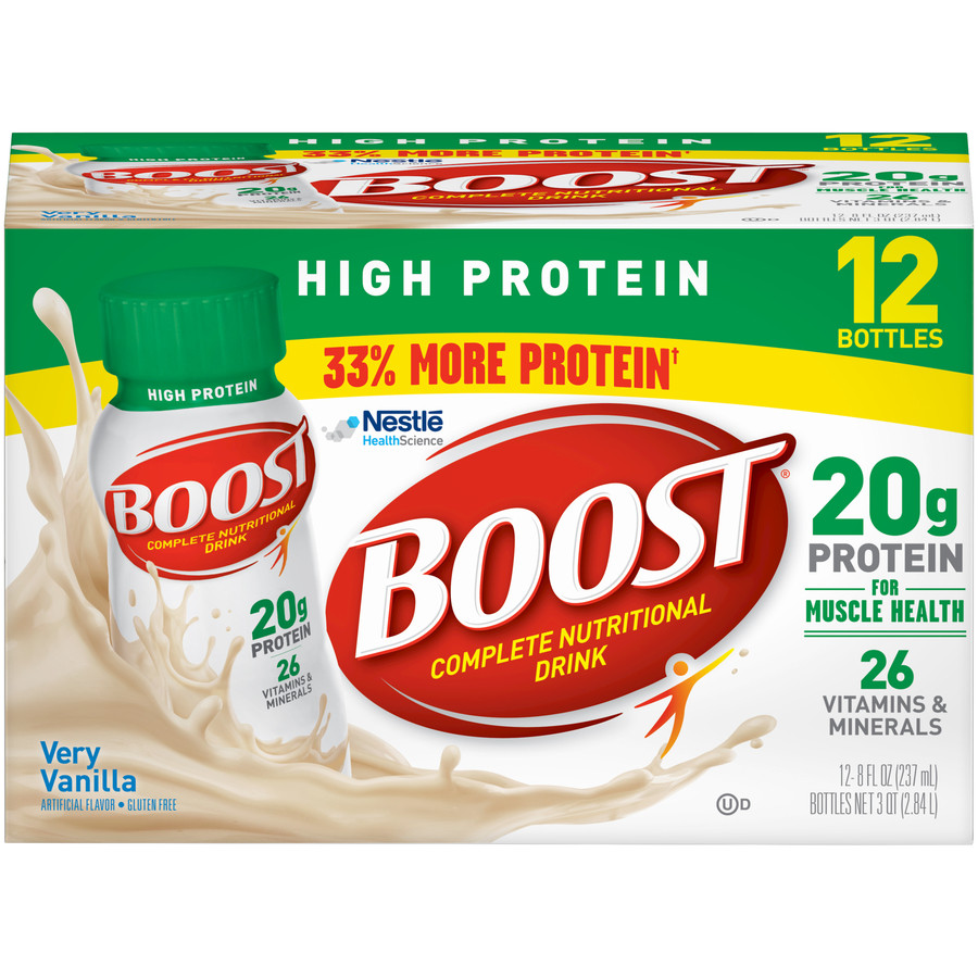 Boost High Protein Complete Nutritional Drink, Very Vanilla, 8 Fl oz Bottle, 12 Count