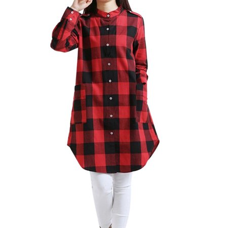 OUMY Women Plaid Check Shirt Tunic Mini Dress