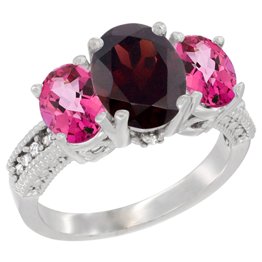14K White Gold Diamond Natural Garnet Ring 3-Stone Oval 8x6mm with Pink Topaz, sizes5-10 by WorldJewels