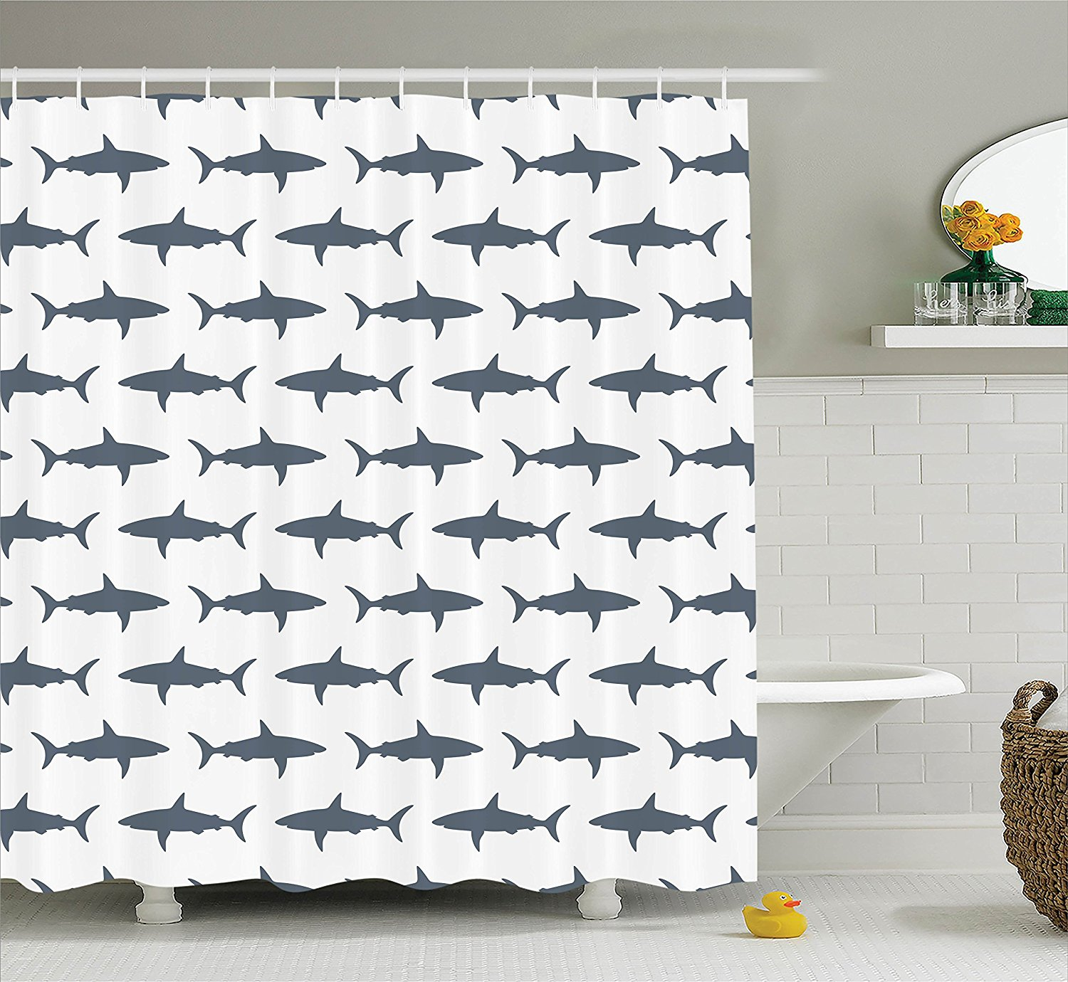 Fish Shower Curtain Sea Animals Decor by , Sharks Swimming Horizontal Silhouettes Traveler Powerful Danger Design Pattern, Polyester Fabric.., By Ambesonne