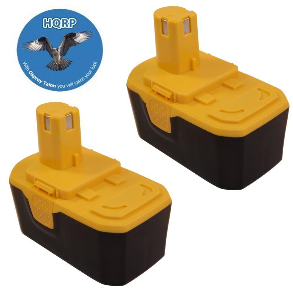 HQRP 18V 2200mAh Battery 2-Pack for Ryobi ONE+ P100 13022...