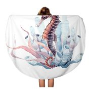 NUDECOR 60 inch Round Beach Towel Blanket Blue Fish Watercolor Seahorse It Pattern Coral Sea Travel Circle Circular Towels Mat Tapestry Beach Throw