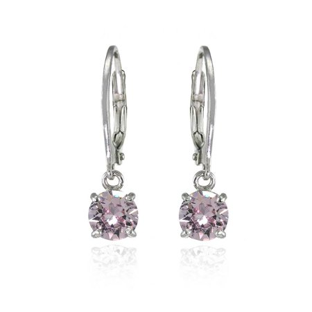Sterling Silver Pink 6mm Round Dangle Leverback Earrings Made with Swarovski Crystals