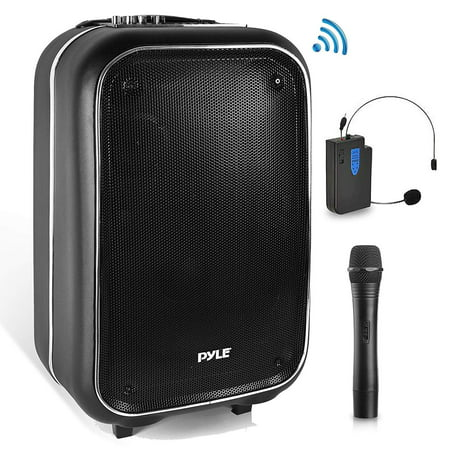 Wireless Portable PA Speaker System - 400 W Battery Powered Rechargeable Sound Stereo Speaker and Microphone Set with Bluetooth MP3 USB Micro SD FM Radio Aux - for Outdoor DJ Party - (Best Sounding Powered Speakers)