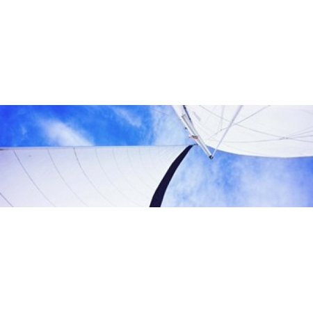 Low angle view of sails on a Sailboat Gulf of California La Paz Baja California Sur Mexico Stretched Canvas - Panoramic Images (36 x