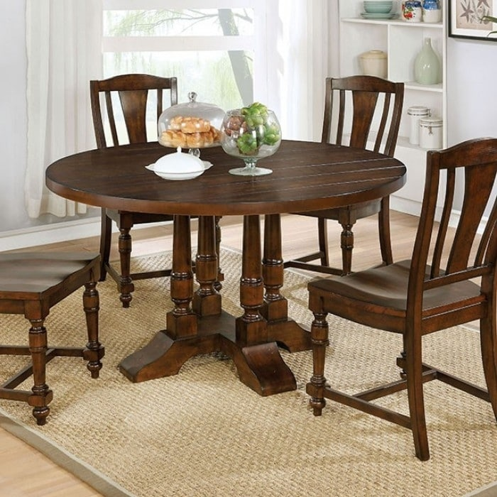 Griselda Plank-Style Round Dining Table, Brown Cherry by Benzara