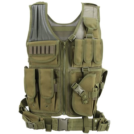 Barbarians Tactical MOLLE Vest Lightweight Military Assault Bug Out Vest Black/Green (Sporting Clay Shooting Vest)