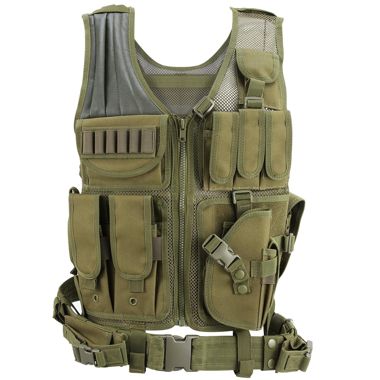 Barbarians Tactical MOLLE Vest Lightweight Military Assault Bug Out Vest Black/Green