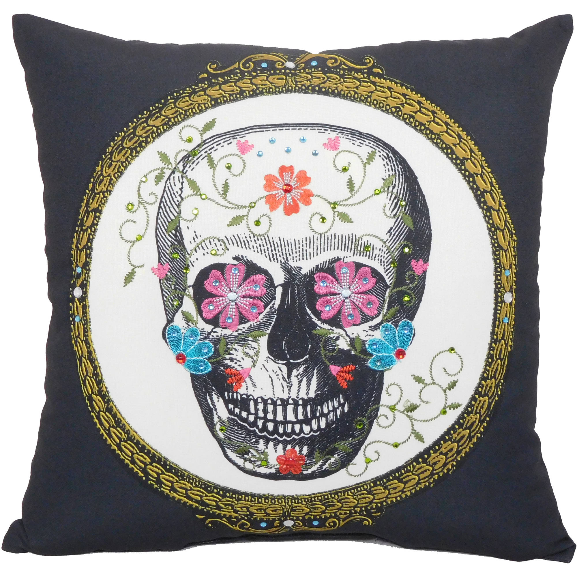 "Framed Sugar Skull Decorative Throw Pillow, 18""x18"", 1 Piece"