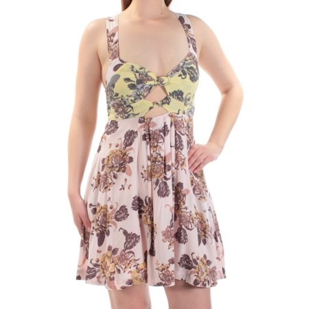 FREE PEOPLE Womens Purple Cut Out Floral Sleeveless Sweetheart Neckline Above The Knee Fit + Flare Dress  Size: XS (Heart Cut Out Back Dress)
