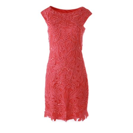 Sue Wong Champagne - Sue Wong Womens Embroidered Knee-Length Cocktail Dress Orange 4
