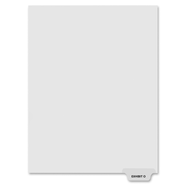 "Kleer-Fax 80000 Series Legal Index Dividers, Bottom Tab, Printed ""Exhibit O"", 25/Pack"