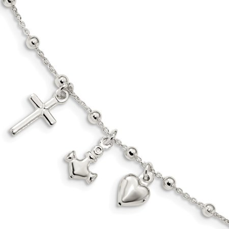 Heart 6 Inch Jewel - 1.2mm Sterling Silver Polished With 1inch Ext Cross Heart Anchor Bracelet - 5.9 Grams - 6 Inch