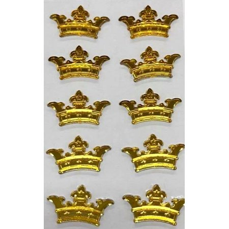 3 Sheets of Gold Crown Prince Princess Sticker Charms 3D Baby Shower or Birthday Self Adhesive Stickers Party Motives Favor Decorations - Prince And Princess Party