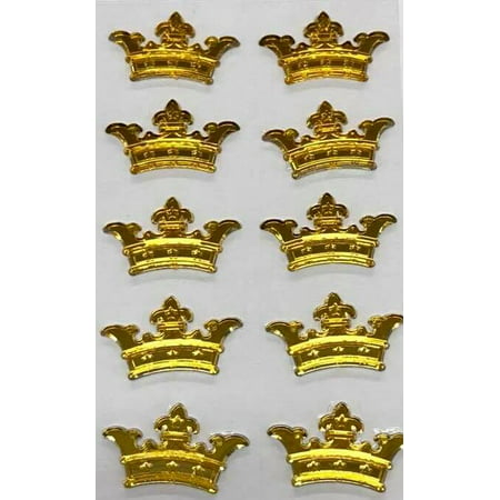 3 Sheets of Gold Crown Prince Princess Sticker Charms 3D Baby Shower or Birthday Self Adhesive Stickers Party Motives Favor Decorations for $<!---->
