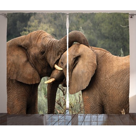 Safari Decor Curtains 2 Panels Set Two Wild Savanna Elephants Wrestling Cute Nature Icons South